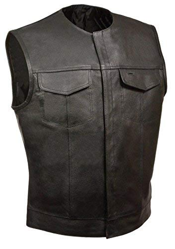 Men's SOA Collarless Leather Vest Motorcycle Biker Club Concealed Carry Outlaws (L, BLACK)