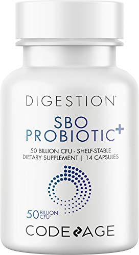 Codeage SBO Probiotics 50 Billion CFUs, Multi Strain Soil-Based Organisms, Travel Sized Shelf-Stable Probiotic Supplement, Organic Fermented Botanical Blend & Prebiotic, 7-Day Formula, 14 Capsules