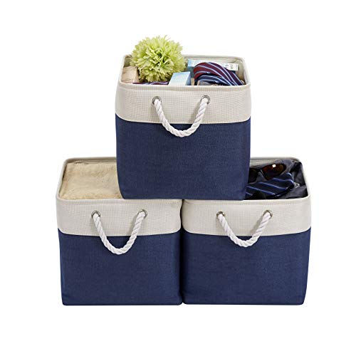 DECOMOMO Foldable Cube Storage Bin | Rugged Canvas Fabric Container with Rope Handles | Great for Organizing Closets, Offices and Homes (Navy Blue/White, Cube 33cm - 3 Pack)