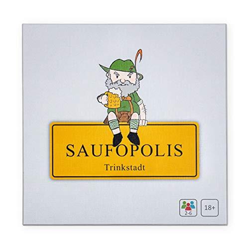 SAUFOPOLIS – Trinkspiel | Die Maximale Druckbetankung und Jede Menge Spaß | Brettspiel - Partyspiel - Kartenspiel - Saufspiel - Für Erwachsene ab 18 Jahren