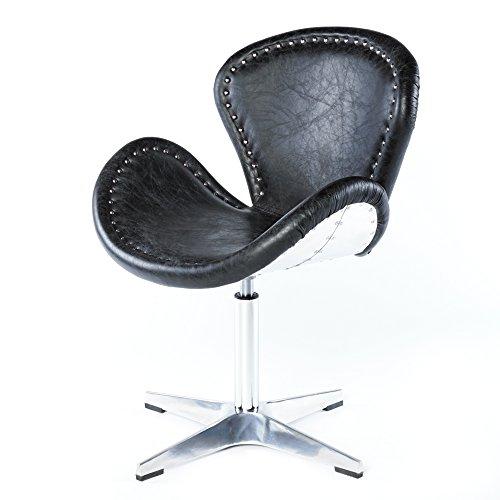 Phoenixarts Echtleder Vintage Ledersessel Schwarz Design Sessel Loft Drehsessel Lounge Clubsessel Möbel NEU 637