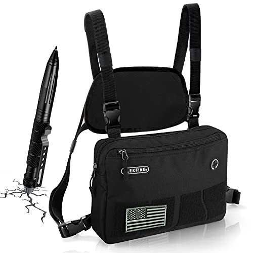 Hands Free Chest Bag Utility Rig Outdoor Sports Chest Bag Tactical Chest Bag Recon Kit Bag, Tactical Combat Chest Pack, Men's and Women's Equipment. Leisure Running, Hiking (Black)