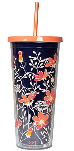 Steel Mill & Co 24 Ounce Tumbler with Lid and Reusable Silicone Straw, Double Wall Insulated Travel Cup, Floral Vines