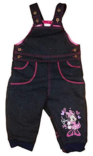 Minnie Mouse Disney Baby Mädchen Thermo-Jeans-Latz-Hose warme Dicke gefütterte Hose in Größe 62 68 74 80 86 92 98 104 Freizeit-Hose für Herbst-Winter Farbe Modell 1, Größe 86