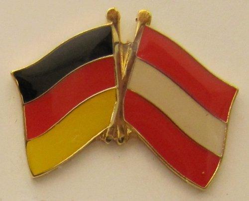 Oesterreich / Deutschland Fre&schafts Pin Anstecker Flagge Fahne Nationalflagge Doppelpin Flaggenpin Badge Button Flaggen Clip Anstecknadel