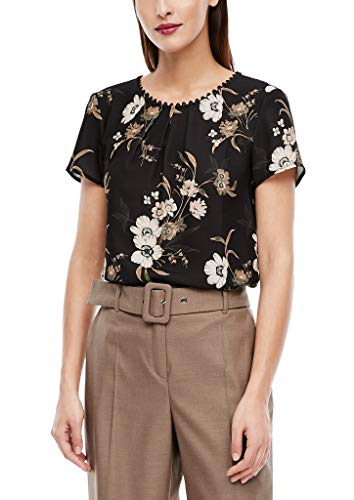 s.Oliver BLACK LABEL Damen Bluse mit Zierknopfleiste Black floral AOP 46