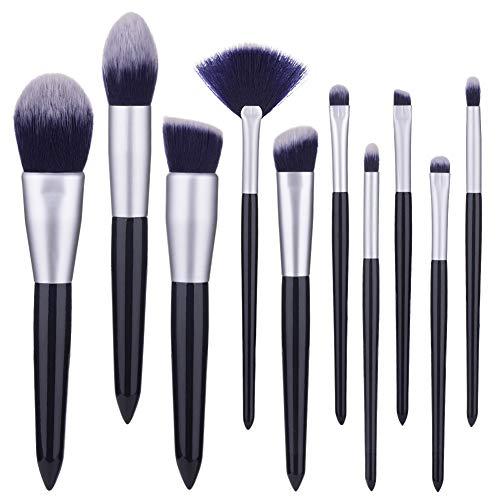 Fibre De Laine Maquillage Brush Set 10 Pcs Visage Modification Outil De Beauté Avec Ombre À Paupières Fard À Joues Contour Brosse,1