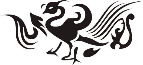 INDIGOS 4250380556017 Wandtattoo w215 Vogel, Phönix 80 x 35 cm, schwarz