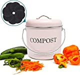 Jolitac Compost Bin with 8 FREE Charcoal Filters 5 Liter Dual Layer Powder-Coated Steel Macaron Pink Compost Bucket with Lid Kitchen Pail Trash Keeper Container Recycling Caddy for Food Scraps