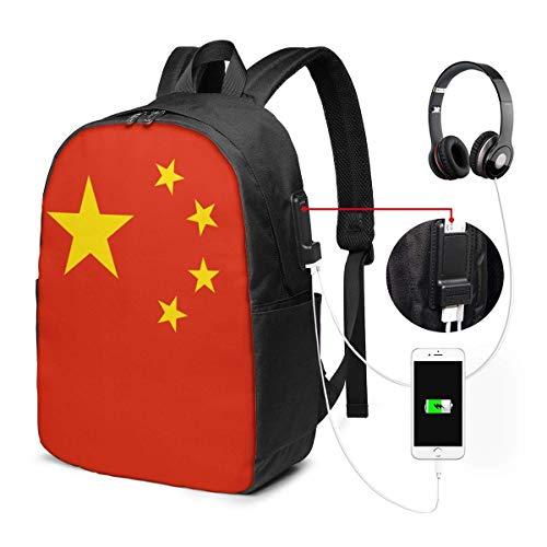Unisex Rugzak met USB Opladen Poort Chinese Vlag Klassieke Mode Algemene Zakelijke Boekenkast