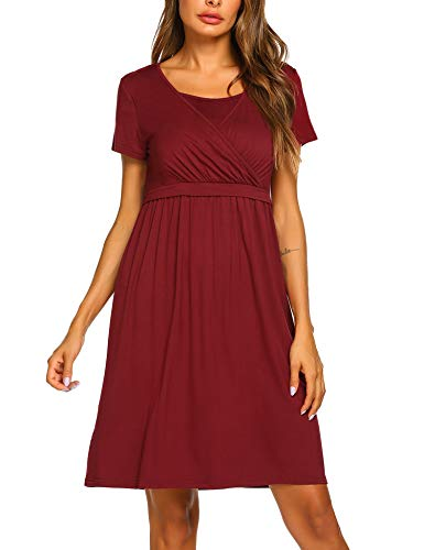 Women's Labor Gown Red Maternity Nursing Dress for Breastfeeding (Red,Large)