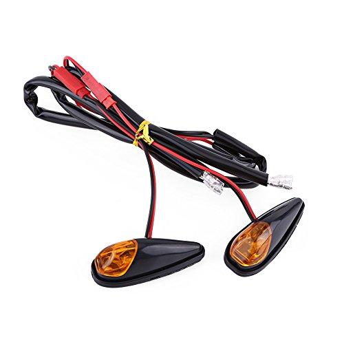 Luces LED de intermitente para motocicleta, 2 unidades/par de luces indicadoras universales para motocicleta, luz ámbar, luz delantera, luz intermitente trasera, carcasa negra, 12 V