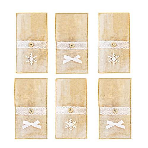 Happyyami 6pcs porte-ustensiles de dentelle de jute sacs sacs jute argenterie coutellerie poche couteaux fourchettes sacs noël vintage mariage décor
