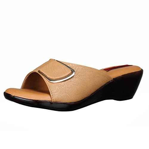1 WALK Comfortable Women-Flats/Fashion Slippers/Casual Footwear/Party slippers/Color-TAN/Size-4-UK/Synthetic Leather/PP-MP-E101A-37
