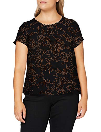 s.Oliver BLACK LABEL Damen Bluse mit Zierknopfleiste Black Graphic Flowers AOP 48