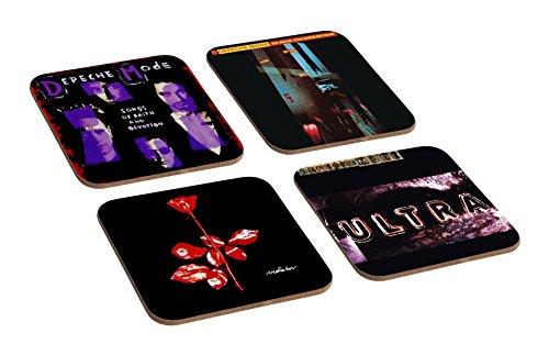 4-teiliges Untersetzer-Set aus Holz mit Albumcover-Motiven von Depeche Mode