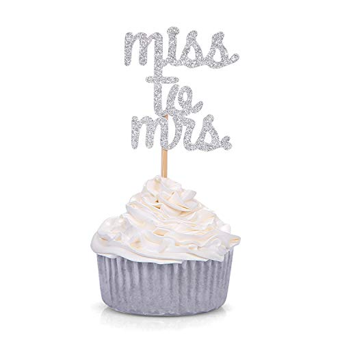 24 CT Silver Glitter Miss to Mrs Cupcake Toppers Wedding Bridal Shower Engagement Party Decors