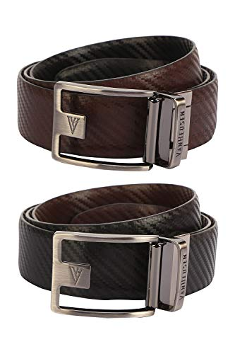 Van Heusen Men's Leather Belt (VHBLARGFC100006_Black_Large)