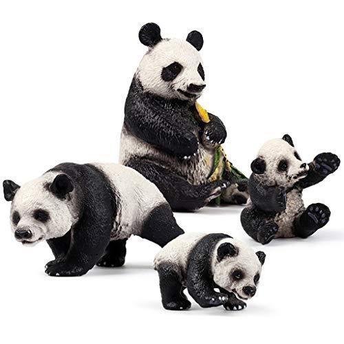 Viesky Juego de 4 figuras de animales del bosque para decoración de pasteles de panda falsos juguetes para fiesta de cumpleaños