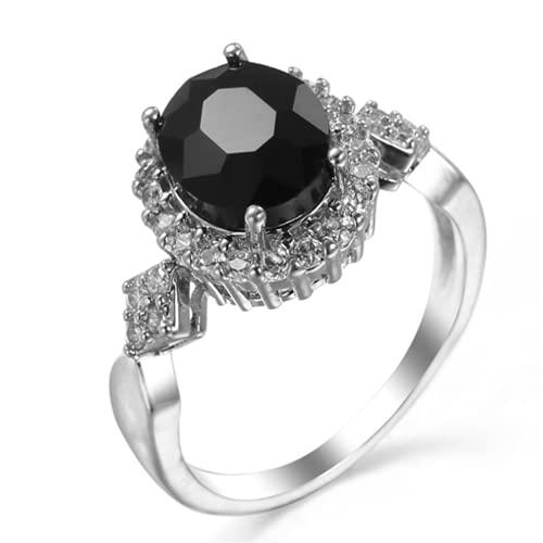 XLOOYEE Joyería de Zircon de Cristal Anillo Anillo de joyería de Plata para Novia Compromiso,Negro