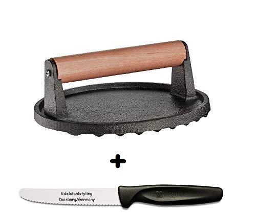 Küchenprofi Fleischbeschwerer Guss + Edelstahlstyling Universalmesser im Set
