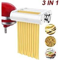 ANTREE Accesorio para hacer pasta 3 en 1 juego para batidoras KitchenAid incluido, rodillo de hoja de pasta, cortador de espagueti, accesorios para cortador de fettuccinas y cepillo de limpieza