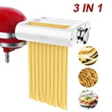 ANTREE Pasta Maker Attachment 3 in 1 Set for KitchenAid Stand Mixers Included Pasta Sheet Roller, Spaghetti Cutter,...