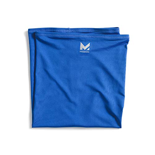 Mission Cooling Neck Gaiter 12+ Ways to Wear, Face Mask, Headband, Head Wrap, UPF 50 Sun Protection, Evaporative Cool Technology, Cools Instantly when Wet, Great for Outdoors, Fishing, Hiking- Blue