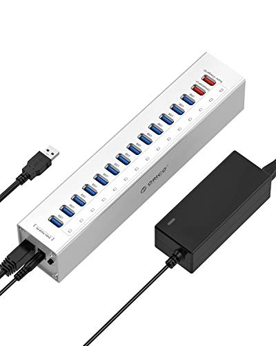 ORICO 60W USB Hub (USB 3.0*13 Ports) Aluminium Datenhub mit 2 USB-Anschlüssen Ladegerät High-End, Highspeed, mit 12V 5A Netzteil kompatibel für Desktop PC Computer Notebook MacBook iMac phone--Silber