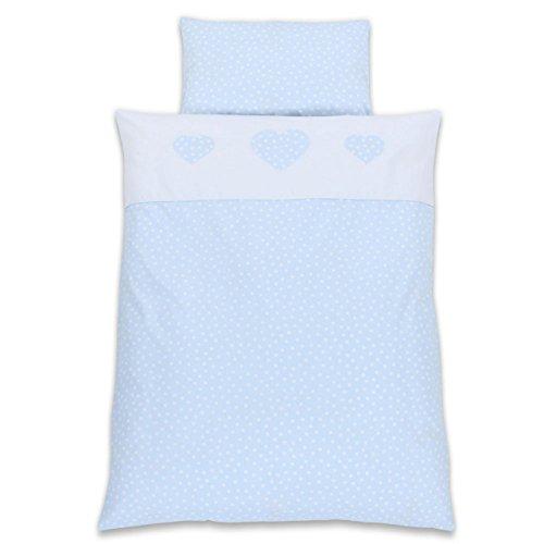 Babybay Parure de lit pour enfant Motif cœurs Bleu clair à pois blancs