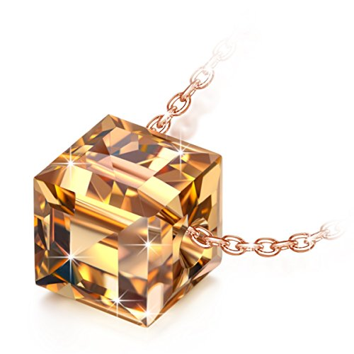 NINASUN Rose Gold Necklace Anniversary Gifts for Her Swarovski Crystal Fine Jewelry s925 Sterling Silver Cube Pendant Necklace Rising Sun Christmas Birthday Present for Girlfriend Wife Sister Daughter