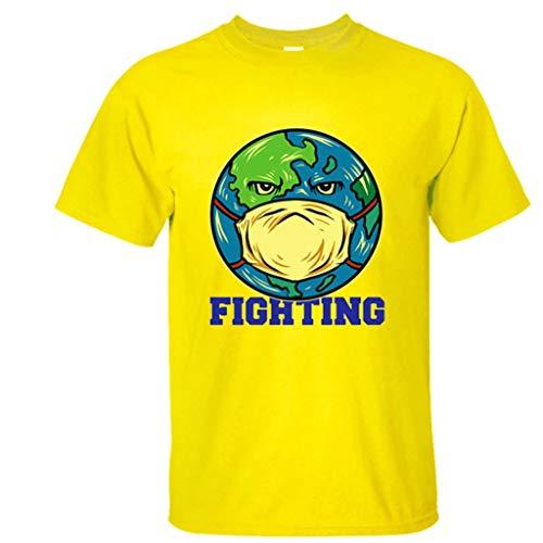 LXHcool Co_vid-19 Attenzione Coro_navirus sopravvissute dai Virus World Tour Tee Unisex T-Shirt Shortsleeve for Uomini e Donne (Color : Yellow, Size : XXL)