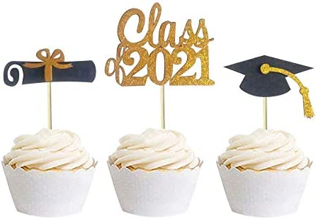 30 PCS Graduation Cupcake Toppers Food Picks for Graduation Party Decorations product image