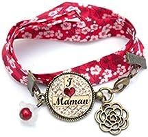 Bracelet liberty, cadeau Maman, bracelet personnalisé multicolore, rouge fleur perle rouge, bijou cabochon