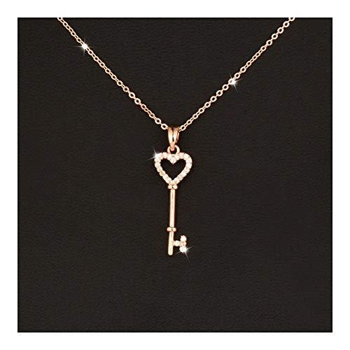 XIAOXINGXING Collar con colgante de corazón de cristal con diseño de corazón para mujer, joyería de boda, oro rosa y plata (color metálico: chapado en platino)