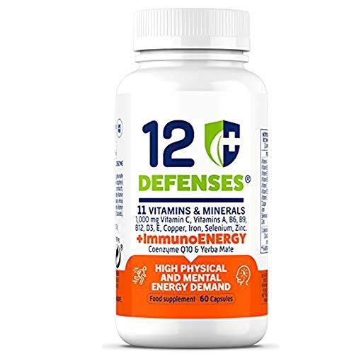 Vitaminas para el Cansancio con Coenzima Q10 y Yerba Mate - Multivitamínico para la Energía Física y la Concentración, con Vitamina C, A, D, B6, B9, B12, E - 60 Cápsulas Vegetarianas - 12 Defenses