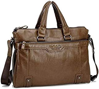 Videng Polo Leather Bag For Men, Brown - Tote Bags