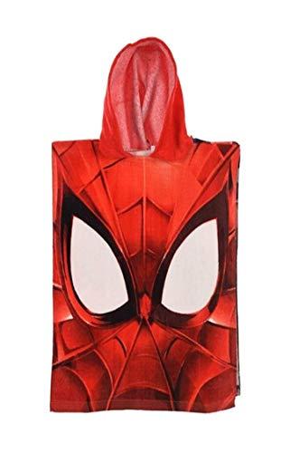 Badetuch Bademantel Kapuzen Poncho für Kinder Baumwolle tolles Geschenk für Jungen (Spiderman)