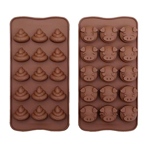 Piggy and Poop Face Emoticons Chocolate Tray Mold 15-Cavity Cute Pig and Poo Mini Jelly Pudding Silicone Mould Pack of 2