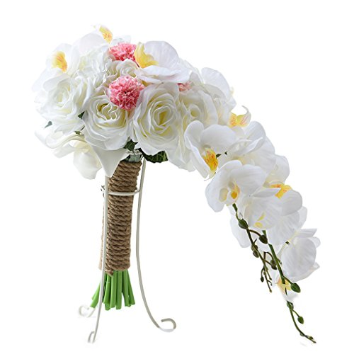 Quibine Künstliche Wasser Tropfen Form Seidige Phalaenopsis Blumen Kristallhochzeits Brautblumenstrauß Hochzeitsblumenstrauß