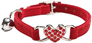 BINGPET Soft Velvet Safety Cat Collar with Bell and Crystal Heart Charm, Red