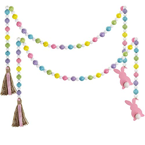 Llxieym Easter Wood Bead Garland Rustic Spring Beads Garland for Easter Home Decor (2, Color 1)