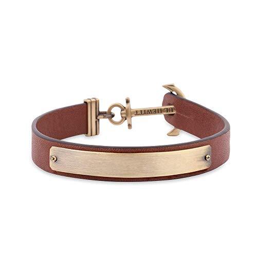 PAUL HEWITT Armband mit Gravur Signum - Personalisiertes Leder Armband Herren (Braun) individuelle Wunschgravur mit Anker Schmuck aus Messing