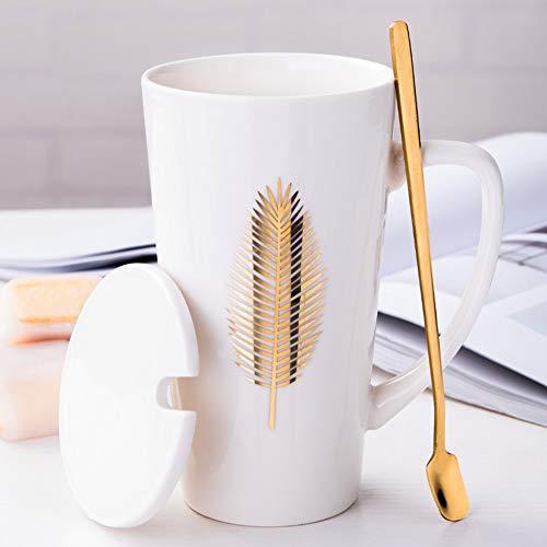 MUXUE Keramik Kaffeetasse, Große Teetassen mit Deckel und Löffel 500ml, Eleganter Milchbecher mit Henkel, Kreative Home & Office Geschenke für Freunden und Familien