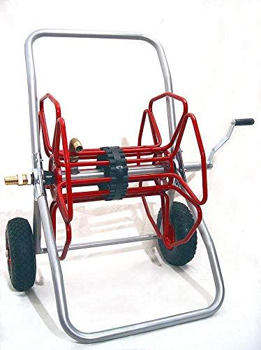 METALMICANTI SRL Carrete de manguera de hierro pintado de jardín capacidad tubo 50 m ø 25/32 con ruedas neumáticas ø 260