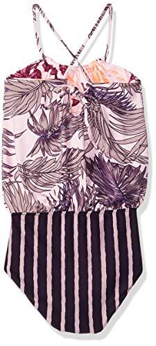 Maaji Girls' Big One Piece with Blouson Top Swimsuit, Bossa Nova boss Purple Palm, 8