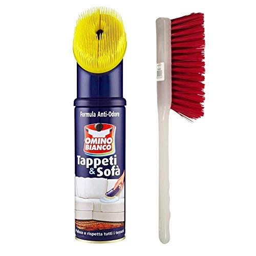 OMINO BIANCO Pulitore per tappeti e diavani, 300ml più spazzola tappeti.