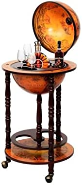 "36"" Wood Globe Wine Bar Stand 16th Century Italian Rack Liquor Bottle Shelf New"