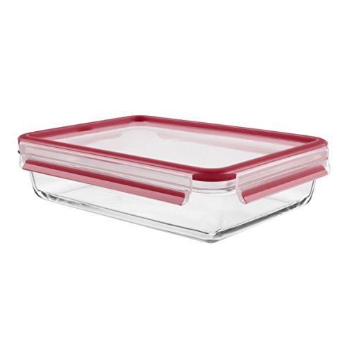Tefal K3010512 - MASTERSEAL Fresh Glass - Boîte Verre de Conservation Alimentaire Rectangle - 2L - Rouge