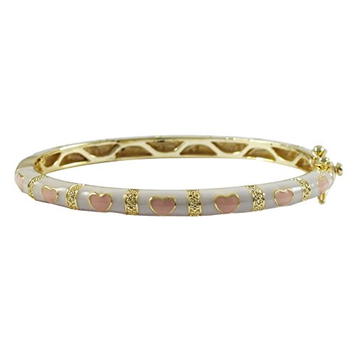 35-mm Ivy and Max Gold Finish White and Pink Enamel Heart Girls Bangle Bracelet
